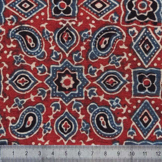 Tissu au m tre 39 rouge bleu ajrakh baroque 39 boutique art - Cuir au metre carre ...