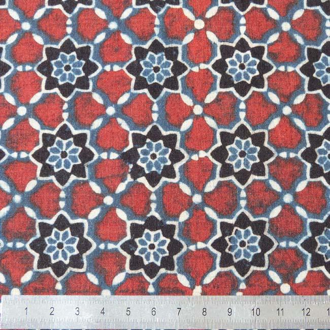 Tissu rouge blanc bleu fleur mosaique boutique tissus - Cuir au metre carre ...