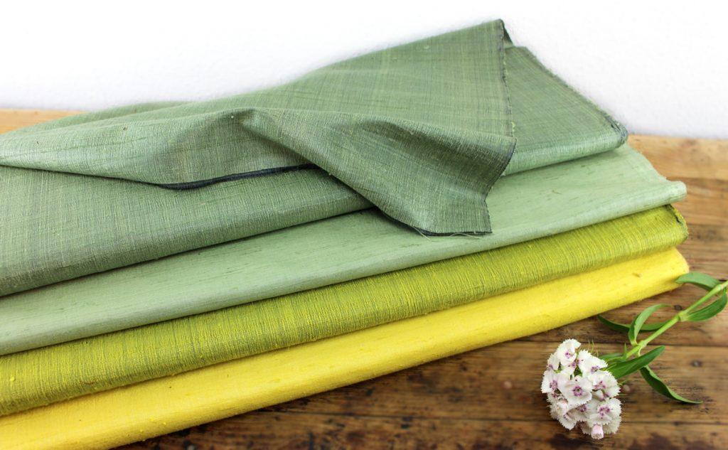 soie sauvage vert-jaune