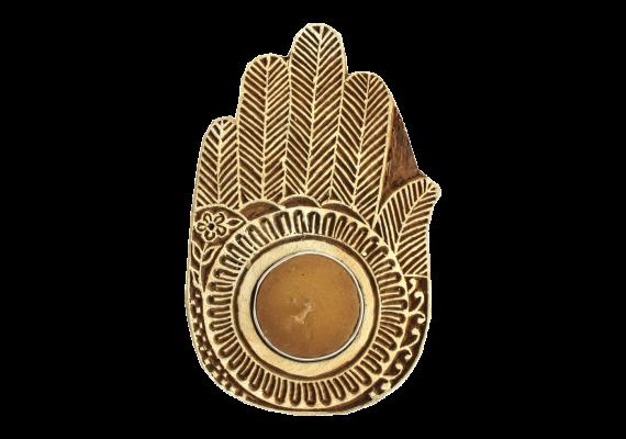 Bougeoir en bois Main Amulette